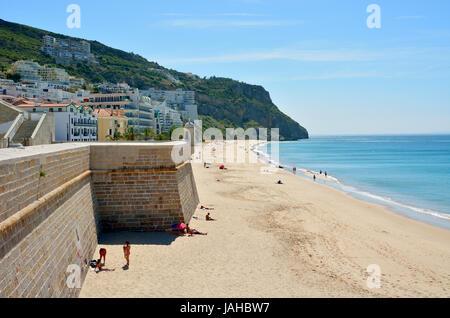 Sesimbra beach. Portugal - Stock Photo