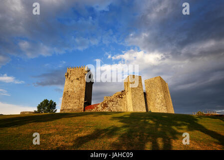 The medieval castle of Montalegre at sunset, dating from the 13th century. Trás-os-Montes, Portugal - Stock Photo