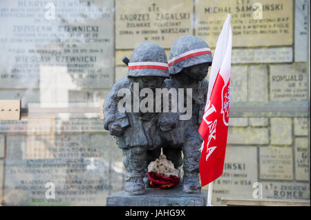 The monument of the Little Insurgents of Warsaw Urprising at St. Stanislaus Kostka Church and Sanctuary of Blessed - Stock Photo