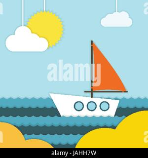 Boat on beach Vector illustration A boat with a red sail is swiming near the seashore on a sunny day Paper art - Stock Photo