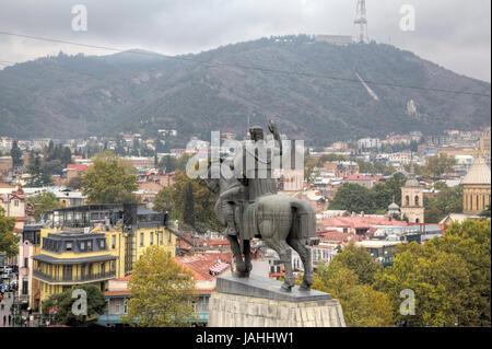 Monument to the founder of the city Tsar Vakhtang Gorgasali. Tbilisi. Georgia. - Stock Photo