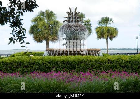 Bronze Pineapple fountain Waterfront Park  Charleston, South Carolina, USA. - Stock Photo