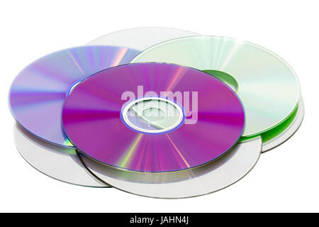 Stack of CD & DVD discs, isolated on white background - Stock Photo