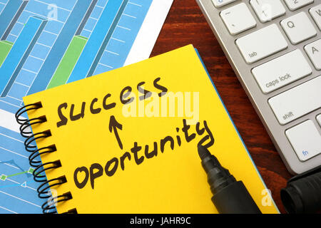 Notepad with words success opportunity. Career Achievements of career concept. - Stock Photo
