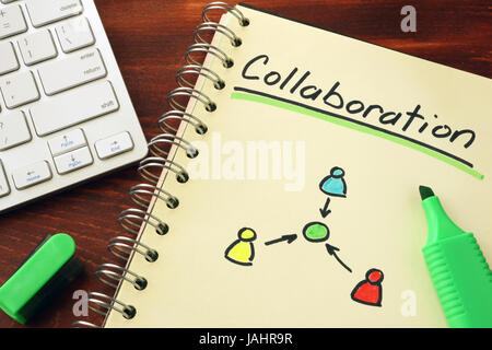 Notepad with word collaboration. Cooperation teamwork concept. - Stock Photo
