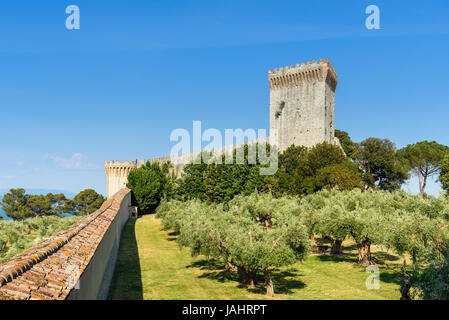 Castiglione del lago, Italy - May 30, 2017 -medieval  fortress in the historic center of Castiglione del lago, umbria, - Stock Photo