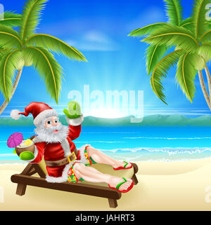 Christmas illustration of summer Santa relaxing in a sun lounger on the beach under a palm tree with a drink and - Stock Photo