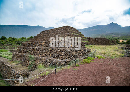 The Pyramids of Guimar, terraced structures built from lava stone without the use of mortar, Tenerife in the Canary - Stock Photo