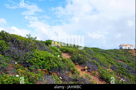 Secluded path into the sky, West Coast of Algarve, Portugal in spring - Stock Photo