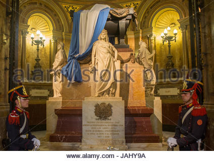 The mausoleum of General Jose de San Martin, inside the Metropolitan Cathedral, the main Catholic church in the - Stock Photo