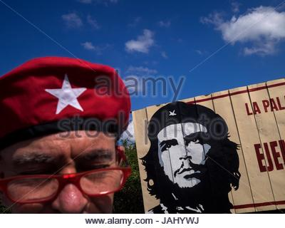 A man in a beret just like that of Che Guevara. - Stock Photo