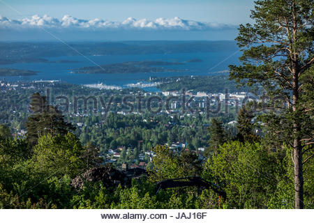 Looking down on Oslo, Norway, from the Holmenkollen area, high above the main part of the city. - Stock Photo