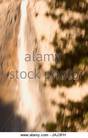 Upper Yosemite Fall in Yosemite Valley in Yosemite National Park. - Stock Photo