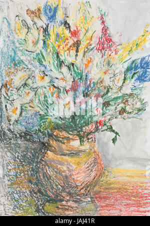 Hand Drawn Pastel Illustration Of Beautiful Bloomed Flowers In A