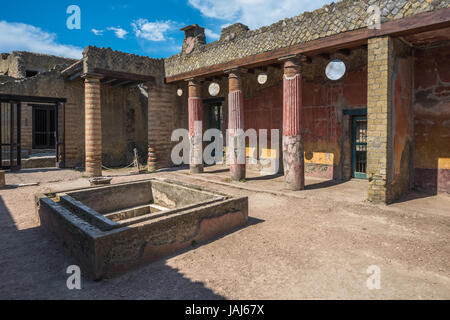 Ruins of Herculaneum, ancient roman town destroyed by Vesuvius eruption - Stock Photo