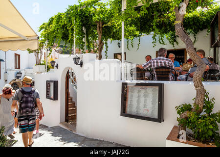 A Typical Cafe/Restaurant In Lindos Town, Rhodes, Greece - Stock Photo