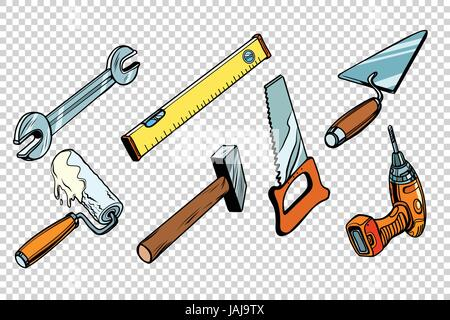 Set repair tools, isolated background - Stock Photo
