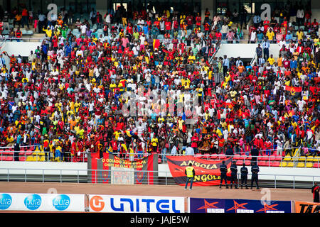 LUANDA, ANGOLA - JULY 04, 2015: Angolan fans look on as Angola takes on South Africa in the group stage of the 2015 - Stock Photo