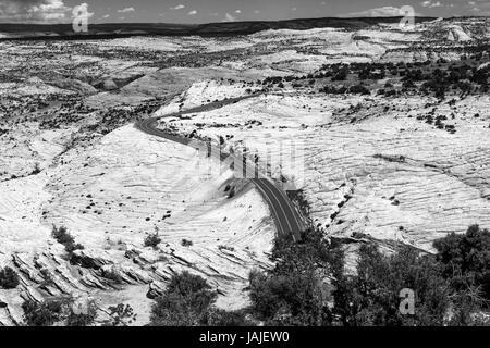 Road thru The Grand Staircase-Escalante National Monument, Utah - Stock Photo