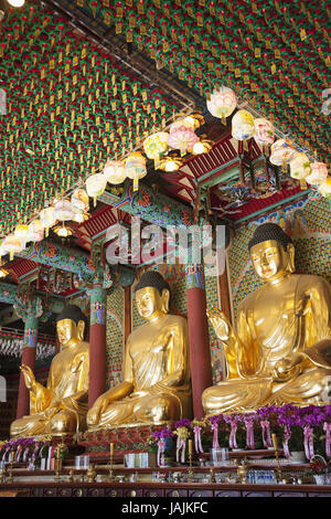 Korea,Seoul,Jogyesa temple,Daeungjeon or hall of the big heroes,Buddha's statues, - Stock Photo