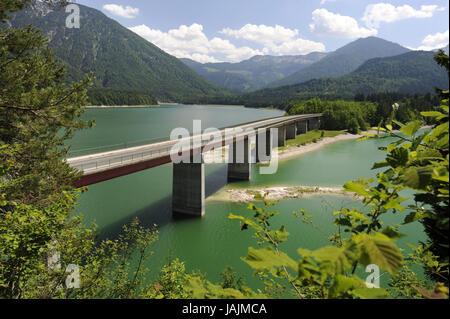 Sylvenstein reservoir in the upper Isar valley, - Stock Photo