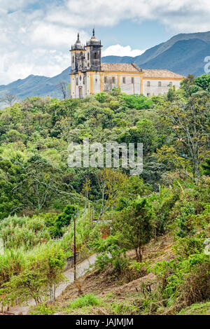 View of the Church of St. Francis of Paula in Ouro Preto in the mountains - Stock Photo