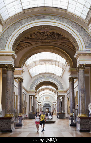 France,Paris,Louvre,gallery in the Denon wing, - Stock Photo