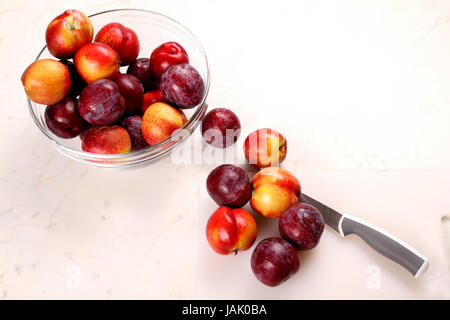 Cutting Nectarines and Plums on the kitchen table - Stock Photo