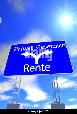 a blue sky with the sun and a street sign with the directions in german lettering private pension or statutory pension - Stock Photo
