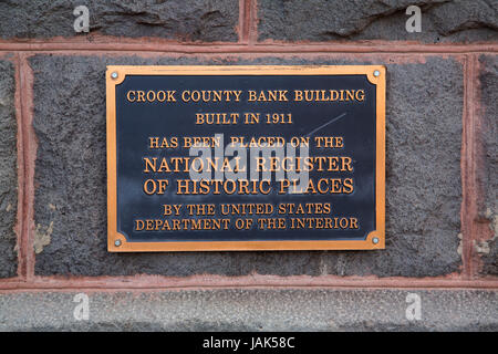 National Register of Historic Places plaque, Bowman Museum, Prineville, Oregon - Stock Photo