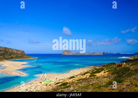 Amazing view over Balos Lagoon and Gramvousa island on Crete, Greece - Stock Photo