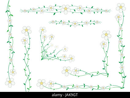 Beautiful florets on small stalks, scenery for cards - Stock Photo