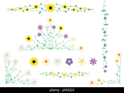 Beautiful flowers on small stalks, scenery for cards - Stock Photo