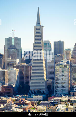An aerial view of the Transamerica Pyramid and the Financial District of San Francisco, California, as seen from - Stock Photo