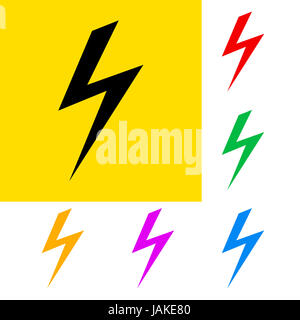 Danger sign of high voltage with color variations - Stock Photo