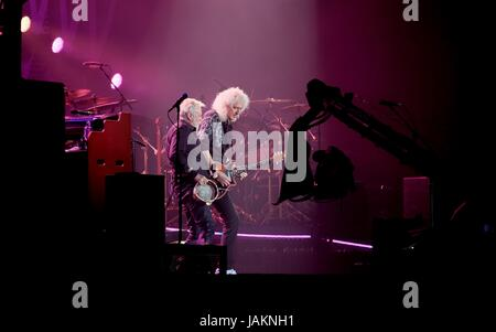 Queen with Roger Taylor and Brian May  performing at Isle of White Festival  June 12th  2016, Newport, IOW, UK - Stock Photo
