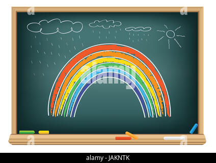 Drawing rainbow by a chalk on the classroom blackboard - Stock Photo