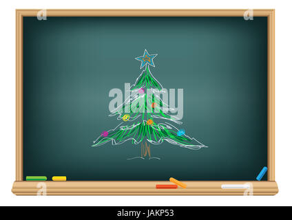 Drawing christmas fir by a chalk on the classroom blackboard - Stock Photo