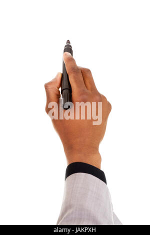 Male hand with pen trying to write on coppy space. Isolated on white. - Stock Photo