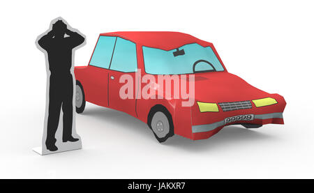 one car that had a crash and a stylized man worried (3d render) - Stock Photo