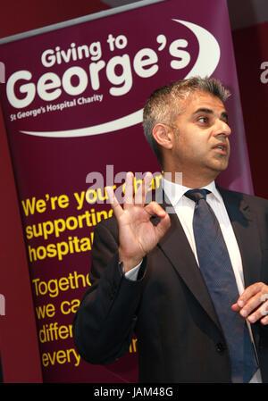 Sadiq Khan Mayor of London does Donald Trump Impression - Stock Photo