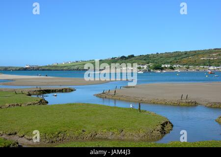 View from Poppit Sands over the River Teifi estuary towards Gwbert Cardigan Pembrokeshire Wales Cymru UK GB - Stock Photo