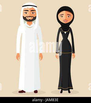 Arabic couple man and woman together in traditional national clothes dress costume. Vector. - Stock Photo