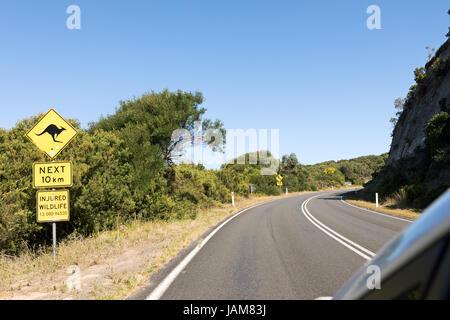 Kangaroo warning sign along the Great Ocean Road Australia - Stock Photo