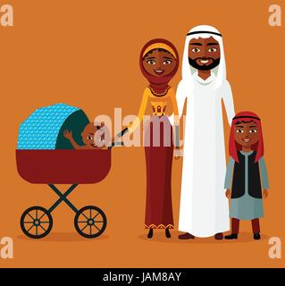 Arab couple with a stroller. Happy Muslim family with newborn baby. Mom with kids. - Stock Photo
