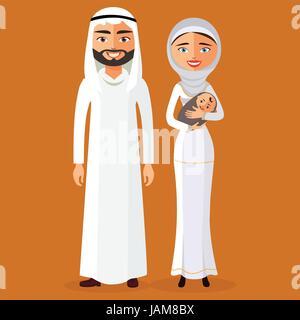 Arab couple with a newborn baby happy. Vector illustration. - Illustration - Stock Photo