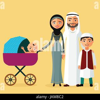 Happy Arab couple with a newborn baby in a flat stile. Mother with children. - Stock Photo