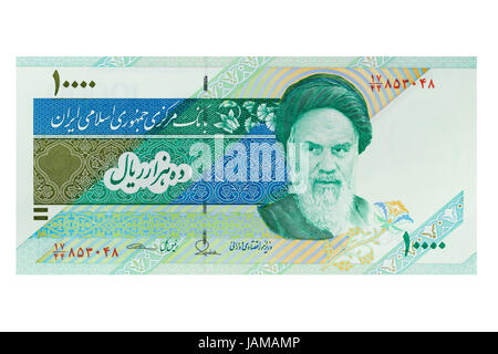 Iranian ten thousand rial banknote on a white background - Stock Photo