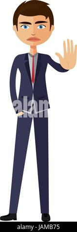 Angry business man showing stop gesture with hand. Angry young man showing hand palm sign stop concept - Stock Photo