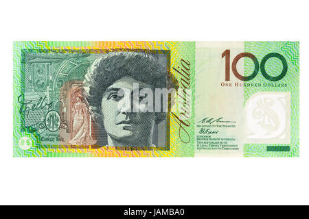 Australian one hundred dollar banknote on a white background - Stock Photo